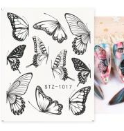 1pc Black Butterfly Nail Decals and Stickers Flower Blue Co