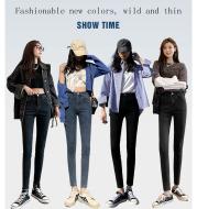 2021 New Spring High-Waist Jeans Women's Pants Tight-Fitting Slim Slim Black Nine-Point Pants