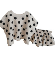 Cotton Polka Dot Set Short Sleeves  Shorts Korean Baby Wear