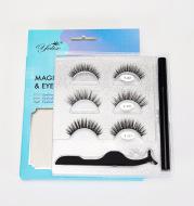 Yelix Cross-Border Magnetic False Eyelashes Set Liquid Eyeliner 3 Pairs Magnetic Free Glue