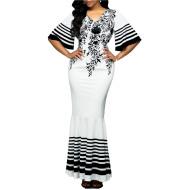 New Women's High Waist V-neck Print Stitching Package Hip Fishtail Skirt Evening Dress