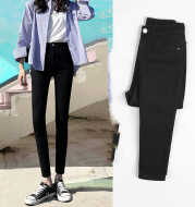 High-Waisted Jeans Women's Pants Summer, Spring And Autumn, 2021 New Spring,Tight-Fitting,Slim-Fitting, Black Nine-Point Pants