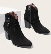 Martin Boots Autumn And Winter Short Tube Thick Heel Side Zipper Fashion Short Boots Women