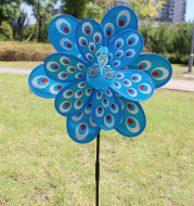 Factory Direct Outdoor Garden Decoration Children's Educational Toys Double Large Peacock Laser Sequin Windmill Wholesale