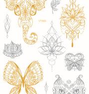 Personalized Fashion Mandala Waterproof Bronzing Tattoo Stickers