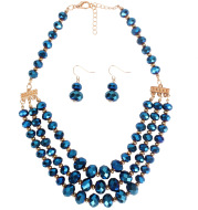 Beaded Ladies Multi-layer Short Clavicle Chain Crystal Earrings And Necklace Set