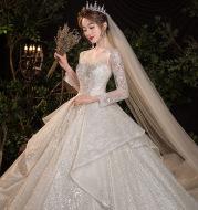 Wedding Evening Dress New Bride French Temperament Dream Long-sleeved Retro Big Tail