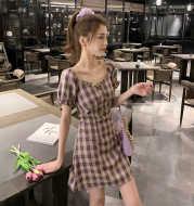 Summer 2021 New FrenchRetro Skirt Temperament Square Collar Mid-length Skirt Waist Short-Sleeved Plaid Dress Female