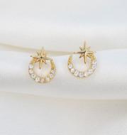 S925 Sterling Silver Super Fairy Moon Moon Star Diamond Stud Earrings