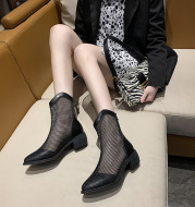 New Thin Ankle Boots With Thick Heel And High Heel Hollow Mesh