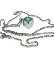 Metal Plated Dice Necklace, Trendy Decorative Pendant, Gift Box With Sieve Cup