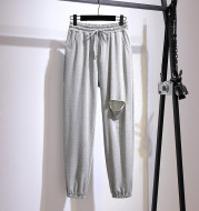 Loose Slimming Sweatpants Thin Section With Holes All-match Wide-leg Trousers