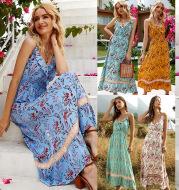 Summer Bohemian Print Ruffled V-neck Sling Dress