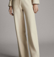 Women's Solid Color Straight Leg Pants Knitted Elastic Waist