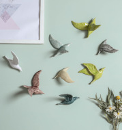 Simple Room Living Room Hotel Background Wall Soft Decoration Creative Ceramic Wall Hangings 3D Bird Decoration