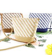 Striped Bucket Bag Shoulder Messenger Straw Bag