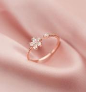 Beautiful Girl With Diamond Five Petal Flower Opening Small Fresh Hand Jewelry