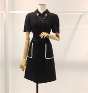 Spring and Summer New Korean Fashion Doll Collar Dress Advanced Black and White Contrast Stitching Slim Double-Breasted Dress