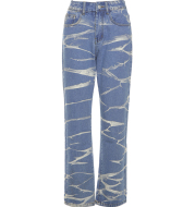 Wave Pattern Jeans Women's High-waisted Straight-leg Slimming Printed Washed Retro Casual Trouser