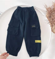 Autumn and Winter New Style Boys' Big Pocket Overalls, Children's Cotton Casual Pants Trendy