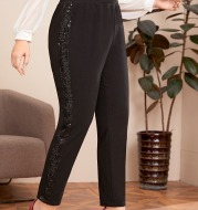 Women's Plus Size Cropped Trousers Side Sequined Slim Stretch Slacks