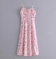 Kasread New Women s Dress Euro American French Lace Up Print Slim High Waist Suspender Dress Long Skirt