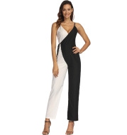Fashion Black and White Color Matching European And American Sexy Suspender Jumpsuit Trousers