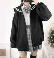 Oversized Sweatshirt Zip-Up Hoodie Sailor-Collar Japanese Streetwear Qweek Soft Girl