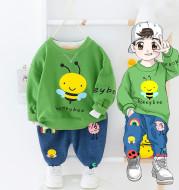 Children's Cartoon Bee Sweater Pants Two-piece Baby Suit