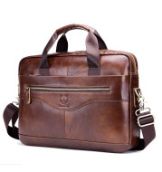 Captain Cattle Leather Goods Laptop Computer Briefcase Men's Leather Shoulder Messenger Bag Top Layer Cowhide Business Briefcase