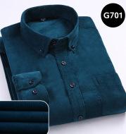 Men's comfortable shirt new long-sleeved button-neck corduroy shirt casual cotton plus size