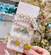 South Korea Ins Net Red Pearl Hairpin Set Hairpin Girl Word Clip Combination Side Bangs Clip Grabbing Clip