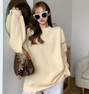 Weiyi Women''s Fashionable Blue Pullover 2021 New Korean Loose Chic Hong Kong Style Long Sleeve Top