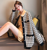 2021 Autumn New Sweater Coat Female Net Red Small Fragrance Knit Cardigan Houndstooth Low Round Neck Korean Loose