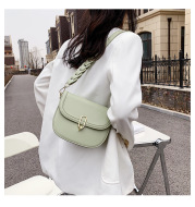 Female Bag Fashion Texture Western Style Messenger Bag Simple Underarm Saddle Bag