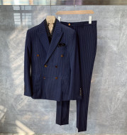 British Style Formal Wear Striped Double-breasted Blazer