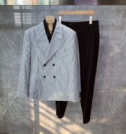 High-end Fashion Striped Double-breasted Trendy Casual Wedding Groom Suit Men