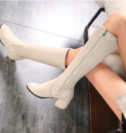 Over The Knee Elastic Boots Women New Round Toe Fashion Boots High Heel Thick Heel Sleeve Women Thin Thin