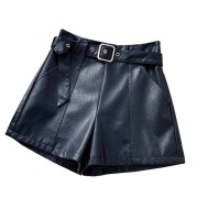 21 New Small Leather Shorts Women's Autumn And Winter High Waist 2020 New Style European Stand Boots Pants Personality Outer Wear Wild Wide Legs