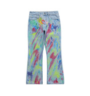 American Hip hop Trendy Brand Color Graffiti Jeans For Men And Women