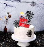 Cake Decoration Spider Spider Web Spider Plugin Children's Birthday Cake Insert Card