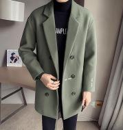 Woolen Coat Double-Breasted Mid-Length Coat
