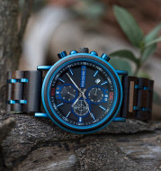 Blue Wooden Chronograph Watch