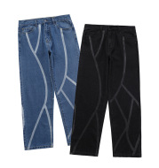 Washed Striped Men's Trousers Casual Jeans