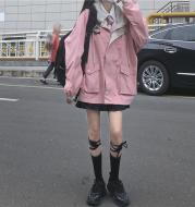 Color-Blocking Hong Kong Style Jacket Female Students Autumn And Winter New College Style Loose Hooded Overalls Jacket