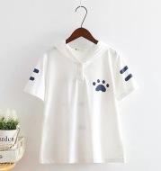 Japanese Mori Women'S Fresh Cat Claw Print Hooded Short Sleeve T-Shirt Women