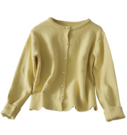 Sweet Style Pearl Single-Breasted Crew Neck Sweater