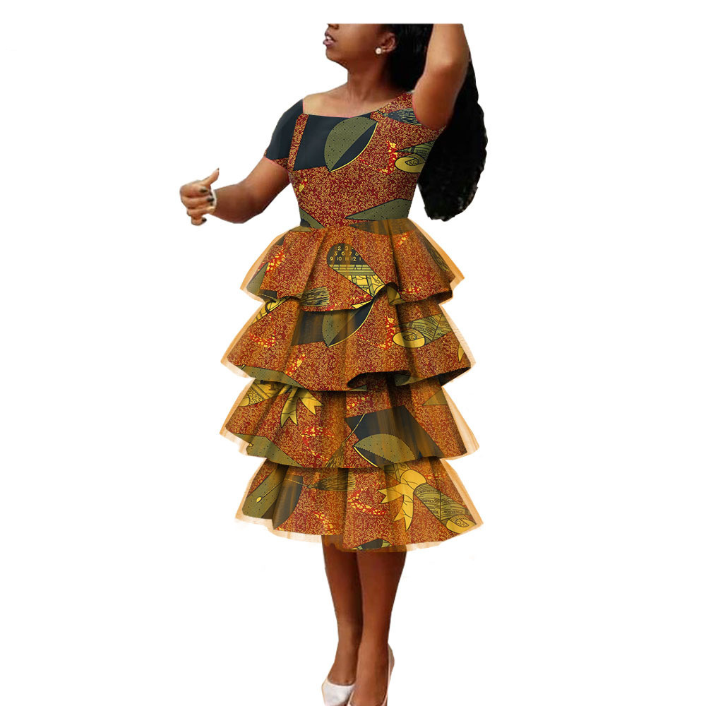 Robe de soirée africaine en tissu coton pour femmes