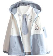 Japanese Small Fresh Color Matching Hooded Cardigan