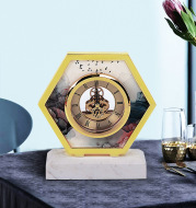 European Simple Living Room Desktop Bedroom Marble Clock Creative Household Silent Clock Decorations